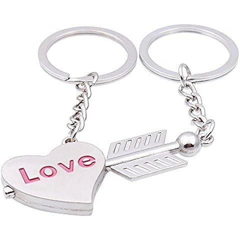 2 Split, a forma di angelo cuore trafitto dalla freccia di Cupido, anello Portachiavi per innamorati, con cuore in argento, in confezione regalo, idea regalo, per marito e moglie