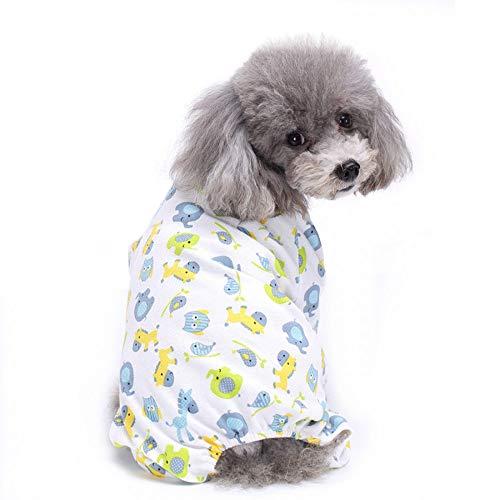 TUOTANG Ropa para Mascotas Ropa para Perros Pijama de Algodón de Cuatro Patas Ropa para Mascotas de Punto Ropa de casa Pijamas,Blanco 5,Medium