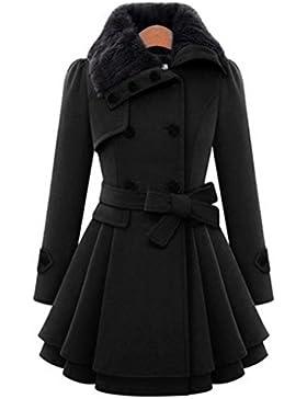 K-youth® Abrigos De Mujer Invierno Elegantes Largos Botón Cárdigan Sudaderas Calentar Abrigos