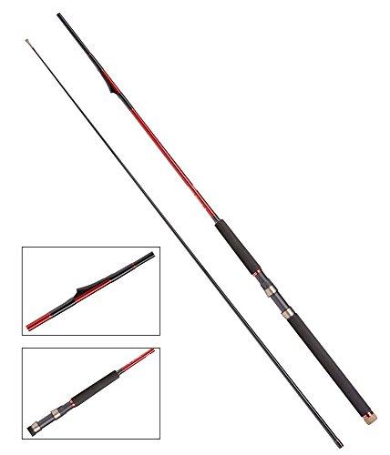 DAM Steelpower Red G2 Inliner Downrigger, 2,40m, 10-20lbs, 2-tlg. - Inliner Trollingrute, inkl. gratis Fishernator Mehrzweck LED-Taschenlampe