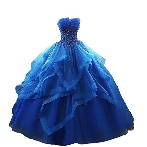 O.D.W Damen A-Linie Lange Partykleider Quinceanera Ball Kleider Formales Abendmode(K?nigsblau, 42) Quinceanera Kleid