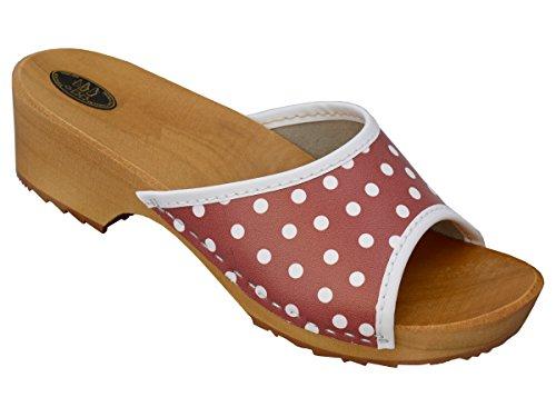 BeComfy Damen Clogs Holzschuhe Leder Holz Pantoletten mit Absatz Sandalen Bunte Farben Modell VK10 (39, Rot mit Weißen Punkten)