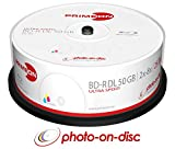 Primeon 2761319 BD-R DL 50GB/2-8x Cakebox (25 Disc), Photo-on-disc Surface, Inkjet Fullsize Printable Weiß