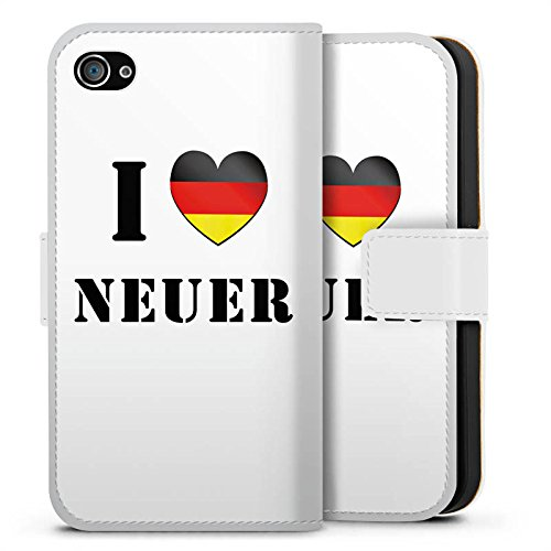 Apple iPhone X Silikon Hülle Case Schutzhülle Fußball Manuel Neuer I Love Neuer Sideflip Tasche weiß