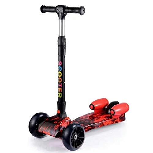 LQLQL Scooter per Bambini Scooter per Bambini a Tre Ruote Pieghevole con Funzione Spray Flash e Musica, Modello 3