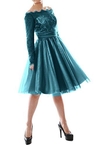 MACloth - Robe - Trapèze - Manches Longues - Femme bleu sarcelle
