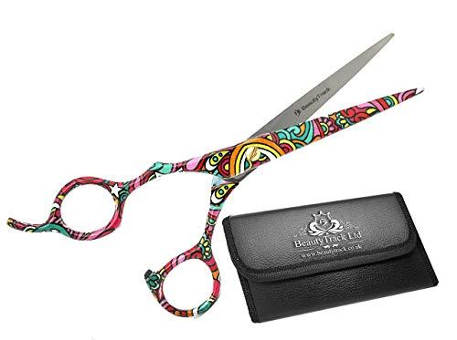 Tijeras de peluquería para zurdos, 15,2 cm, para cortar y peinar, ligeras, con estuche de presentación