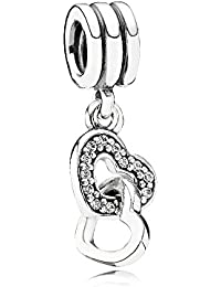 Pandora Women's 925 Sterling Silver Cubic Zirconia Hearts Charm