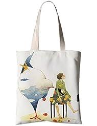 Sac de toile en toile de style japonais Sac de voyage Sac de shopping Un pigeon et une fille