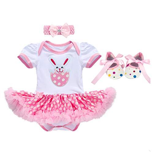 OBEEII Baby Mädchen 3tlg Ostern Bekleidungssets Strampler Tutu Kleid + Stirnband + Schuhe Osterei Osterhase Prinzessin Kostüm für Neugeborenes Kinder 12-18 - Christmas Parade Kostüm