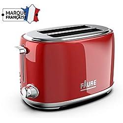 Faure FT2S-8141 Grille pain Design Vintage - 810W puissance réglable - Ejection Haute - 2 Larges Fentes - Coloris Rouge