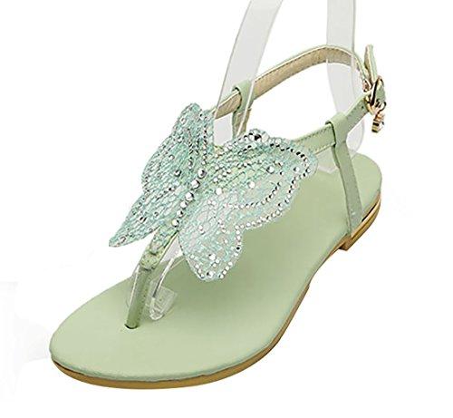 UH Sandales Femmes Bout Ouvert à Talons Plates Confortables de Boucles en Lanières en T avec Papillon Vert