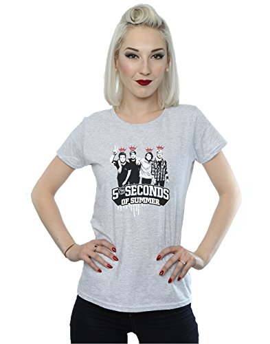 5 Seconds of Summer Femme Band Crowns T-Shirt Heather Gris