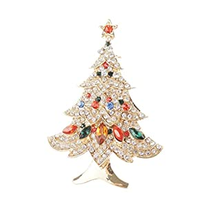 Damen Herren mit Kristall rot grün Festive Weihnachtsbaum Revers Brosche