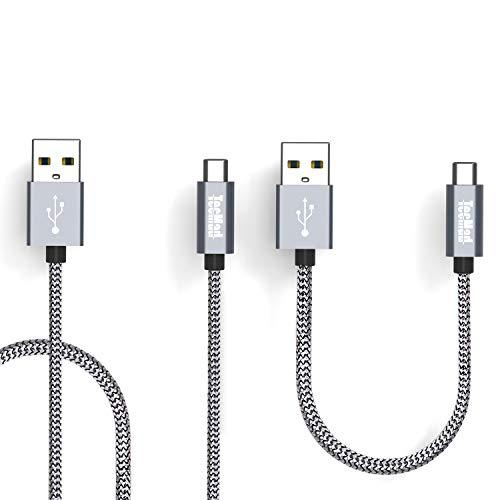 TecMad USB Typ C Kabel USB C Nylon Ladekabel geflochtene Schnur Schnelle Ladegerät für Samsung S9 Plus/Note 9,LG G5 V20,Huawei P20/P10 Plus, MacBook 12