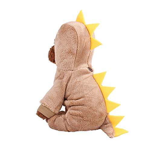Sile Haustier Kleidung, Karikatur Dinosaurier Pet Verkleiden Sich Im Winter Warm Halten Haustiermantel für Hunde und Katzen SL-015 (Farbe : Braun, größe : M)