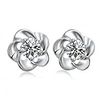 Women Fashion Stud Earrings Girl Sterling Silver 925 Crystal White Gold Plated Clear Blooming Plum
