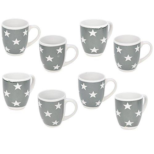 com-four® [!!!B-Ware!!! 8X Kaffeebecher Stars im Sterne Design mit weißen Sternen auf Grauer Tasse, 300 ml (08 Stück - Sterne) -