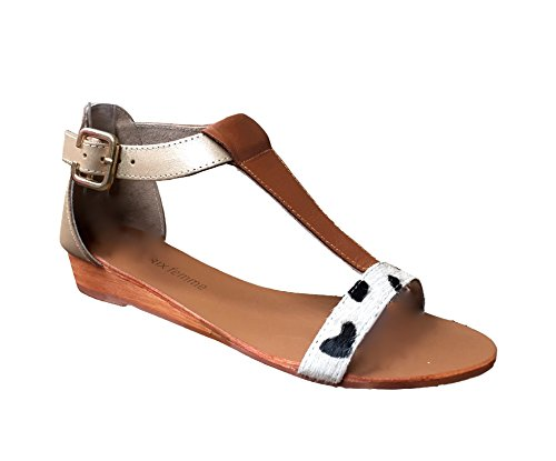 monoprix-femme-womens-ladies-girls-bronze-gold-flat-strappy-real-leather-summer-holiday-gladiator-sa