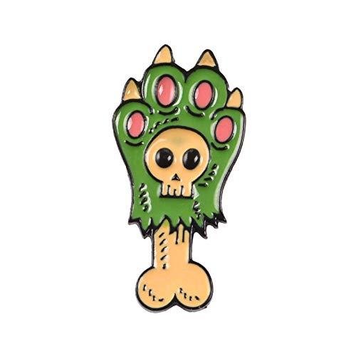 JTXZD Brosche Hund Pfote Knochen Emaille Pin Cartoon Skelett Abzeichen Brosche Anstecknadel Jeanshemd Tasche Kragen Tierknochen für - Skelett Hunde Kostüm