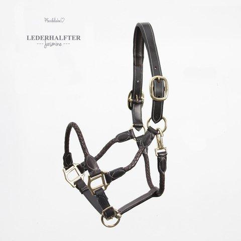 Pferdeliebe Lederhalfter -Jasmine- (Mini-Shetty, braun/goldfarbigen Beschlag)