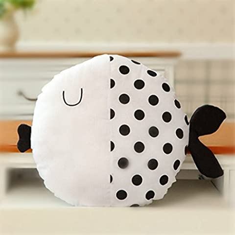 Edealing (TM) Mignon Kiss Fish Shape Peluche Cushion Toy Bébé Enfant Pillow Farcouillette Décoration à la maison -Polka Dot Style