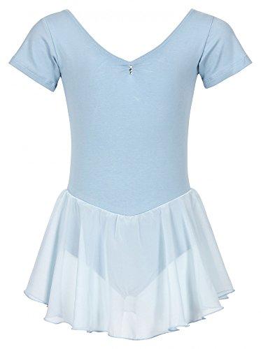 tanzmuster Kinder Kurzarm Ballettanzug Betty aus Baumwolle mit Glitzersteinen und Chiffon Röckchen in hellblau, Größe:104/110