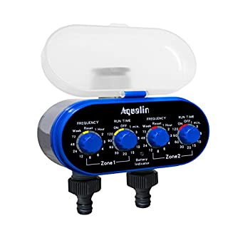 Aqualin Two Outlet Electronic Water Timer Garden Irrigation System Controller Color Blue