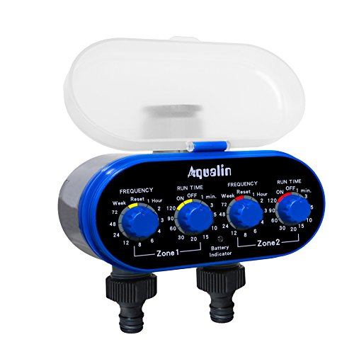 Aqualin Two Outlets Electronic Hose Water Timer Garden Irrigation System Controller Watering Computer Color Blue
