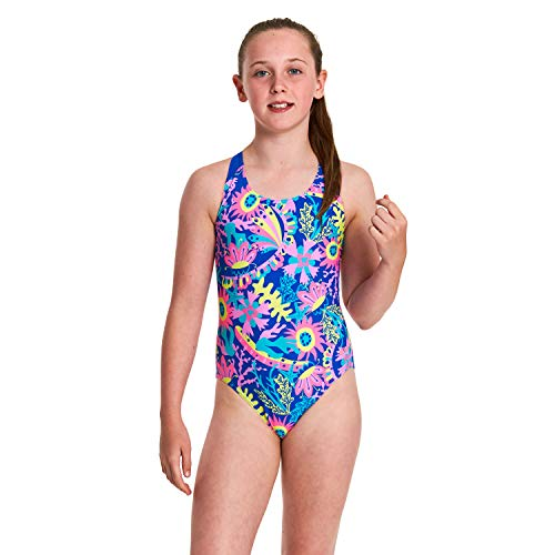 f4ee83ca4bc Zoggs Girls' Flyback One Piece Swimsuit Blue/Multi, 10 years