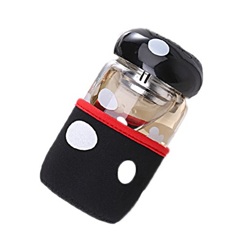 PIXNOR Tee-Flasche / Trinkflasche mit Teesieb und Cup Deckel - Pilz stil (schwarz)