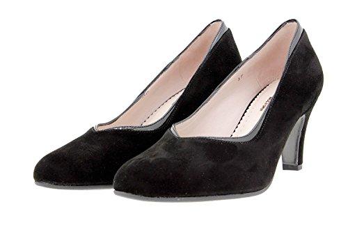 Scarpe donna comfort pelle PieSanto 9206 scarpe con tacco comfort larghezza speciale Negro