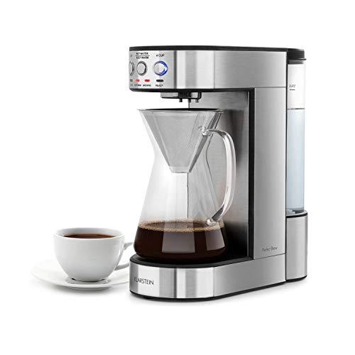 Klarstein Perfect Brew Filter-Kaffeemaschine mit rotierendem Brühkopf • Kaffeemaschine • 1800 Watt • 1,8 Liter • digitaler Steuerung • Timer • Warmhaltefunktion • inkl. Glaskanne • Edelstahl • silber