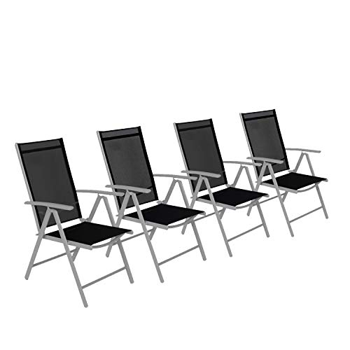 CCLIFE Alu Klappstuhl 2er 4er Set Gartenstuhl Balkonstuhl verstellbar klappbar Belastbarkeit 150 kg Aluminium Outdoor, Farbe:Hellgrau, Größe:4er-Set