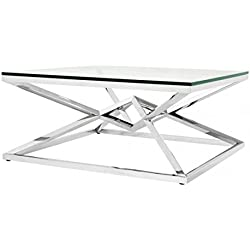 Casa-Padrino Luxury Couch Table Stainless Steel Nickel Finish 100 x 100 x H. 45 cm - Living Room Table Furniture