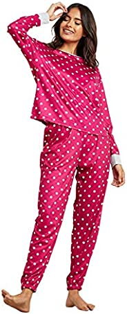Polka Dot Printed Long Sleeves T-shirt and Cuffed Pyjama Set For Women Burgundy Closet by Styli