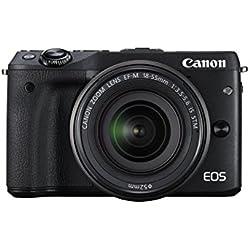 Canon EOS M3 Fotocamera Mirrorless Digitale 24.2 Megapixel con Obiettivo EF-M 18-55 mm STM, Nero
