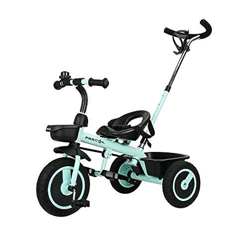 Fascol Tricycle Vélo 3 Roues Poussette Evolutif pour Enfant Bébé 1.5 à 5 Ans Charge 30 kg, Vert