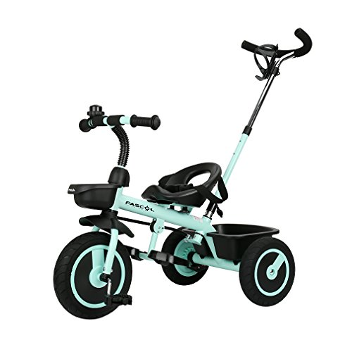 Preisvergleich Produktbild Fascol Kinder Dreirad mit abnehmbarer Schubstange Baby Trike Doppelte Funktion Kinderwagen ab 18 Monate bis 5 Jahre Kinderfahrräder flüsterleise Gummireifen,Navy Blau
