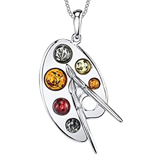 Ultimate Metals Co. ® Sterling Silver Baltic Amber Multi Color Artist Painter's Palette Pendant Necklace Jewelry 46cm Free Rolo Chain