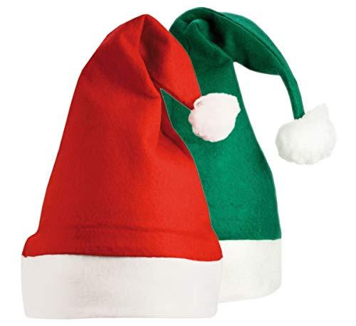 Printwear Weihnachtsmütze Nikolausmütze Santa Claus mit Plüsch/LED Bommel -