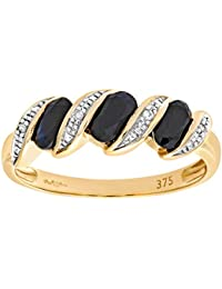Naava Women's 9 ct Yellow Gold 0.02 ct Diamond and Sapphire Pave Set Eternity Ring