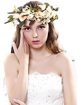 Ever Fairy® fascia per capelli con corona di fiori, nastro regolabile, accessorio per capelli per donne e bambine