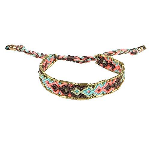 Imagen de kelitch hecho a mano macramé color caramelo amplio bohemia tejido amistad pulsera moda nuevo joyería blanco