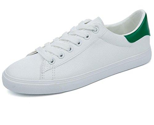 SHFANG Dame Schuhe Sommer Einfache Strap Freizeit Bequeme kleine weiße Schuhe Studenten Schule Laufen Drei Farben White Green