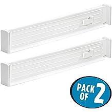 mDesign Set de 2 separadores para cajones – el accesorio ideal para organizar ropa- Además son separadores de cajones extensibles – Color: blanco