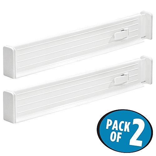 mDesign 2er Schubladentrenner – verstellbar – der perfekte Schubladeneinsatz – ideal als Schubladenteiler zur besseren Ordnung – Farbe: weiß (Verstellbare 2)