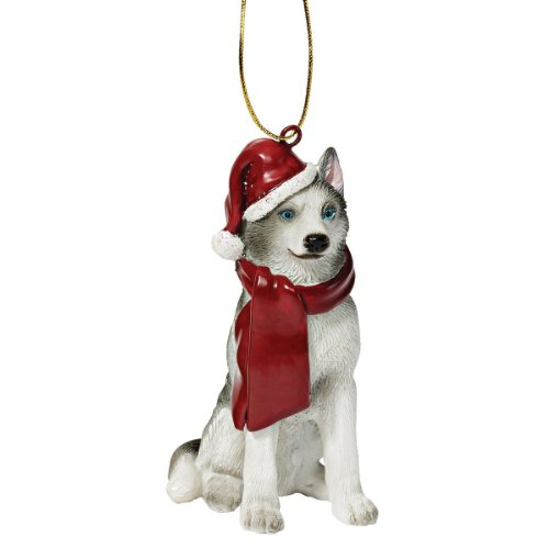 Design Toscano Chien de Sibérie Husky Décorations d'Arbre de Noël Ornement Décorations de Noël, 8 cm, polyrésine, palette complète de couleur