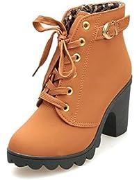 88275c37c3fb75 Hochhackige Stiefel Damen Winter Btruely Herbst Stiefel mit hohem Absatz  Schnüren Stiefeletten Damen Schnalle…