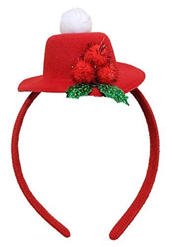 La vogue Weihnachten Haarreifen mit Mini Weihnachtshut Kopfband Haarband für Party A